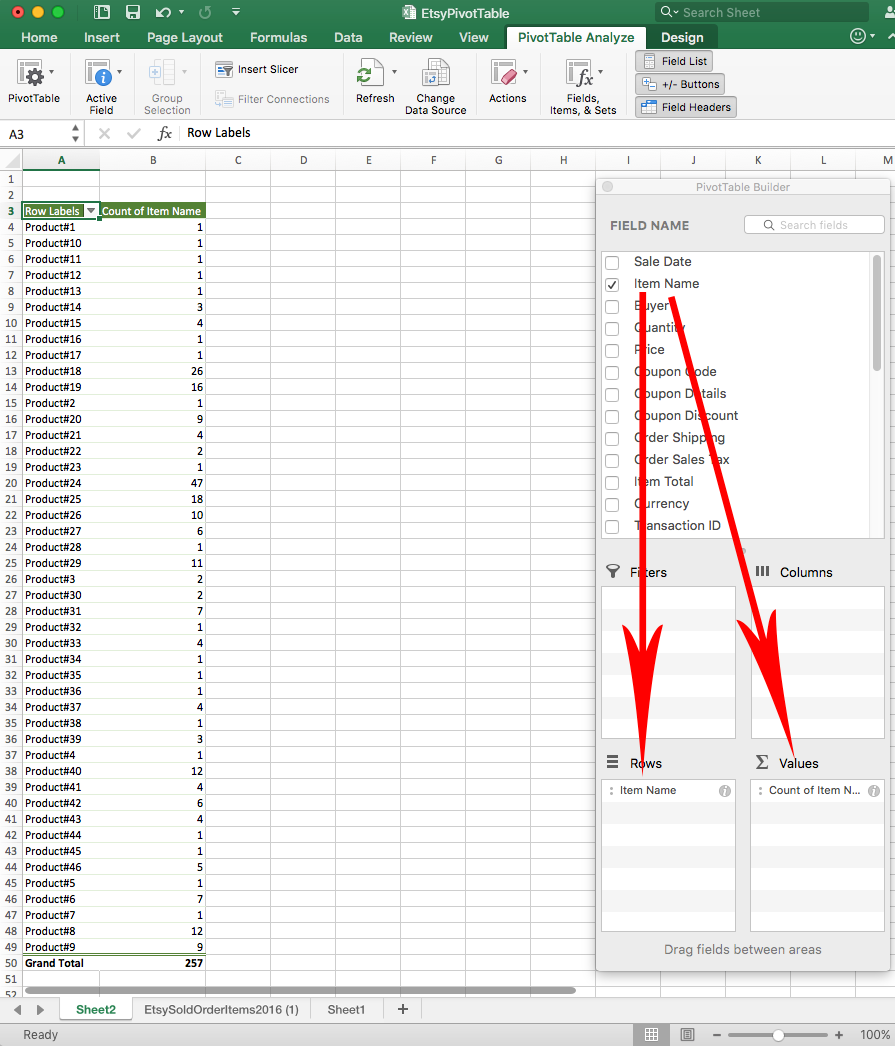 Screenshot of Excel spreadsheet with pivot table